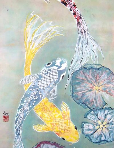 "Koi Dynasty, 36"" h x 20"" w 