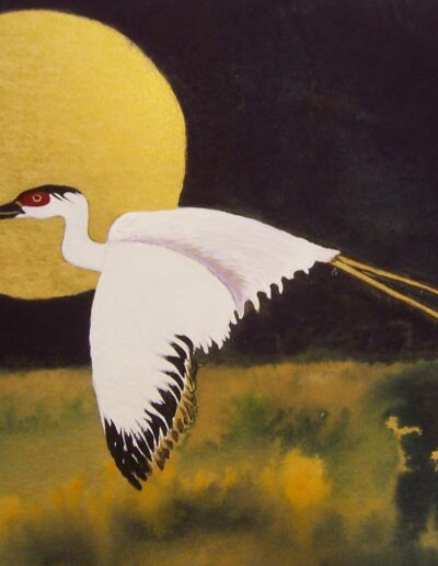 "Moonglow Crane, 13"" h x 14"" w 