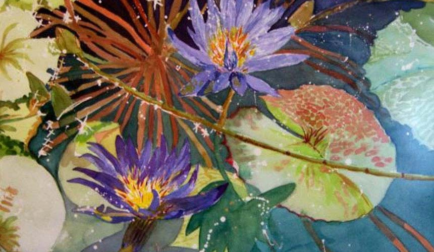 "Water Lily Blue, 28"" h x 36"" w 